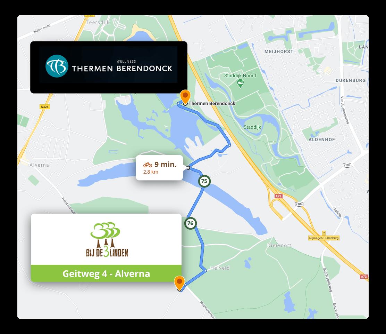 Fietsroute naar Thermen Berendonck